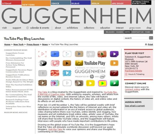 videos  GUGGENHEIM MUSEUM AND YOUTUBE