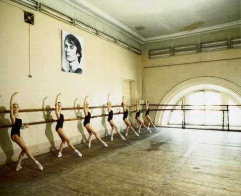 Ballet training, young girls in ballet school