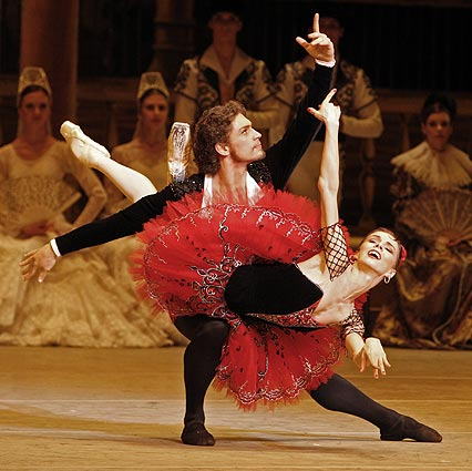 Vasiliev and Osipova performing a no handed fish dive from the ballet Don Quixote