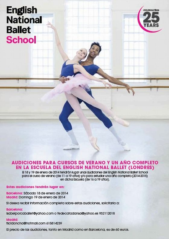 master class  Audición Escuela del English National Ballet en Londres