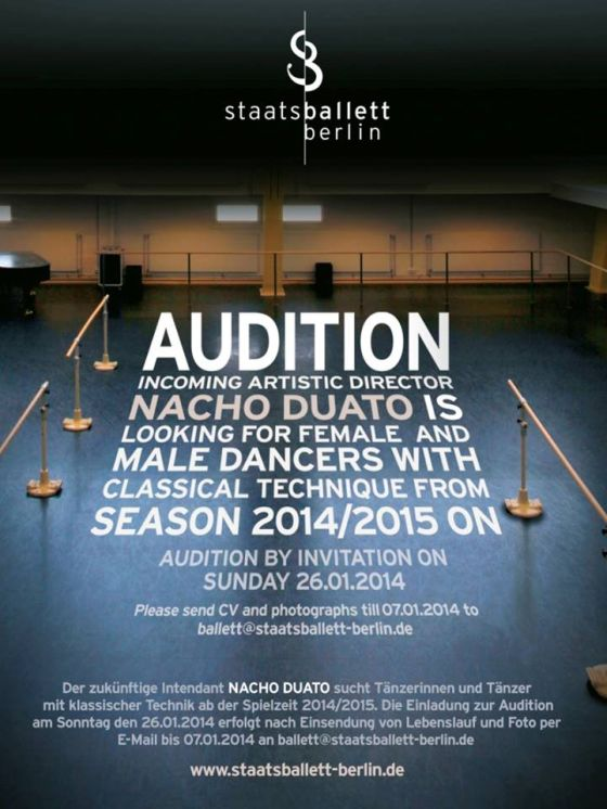 master class  Nacho Duato conducts audition at the Staatsballett Berlin
