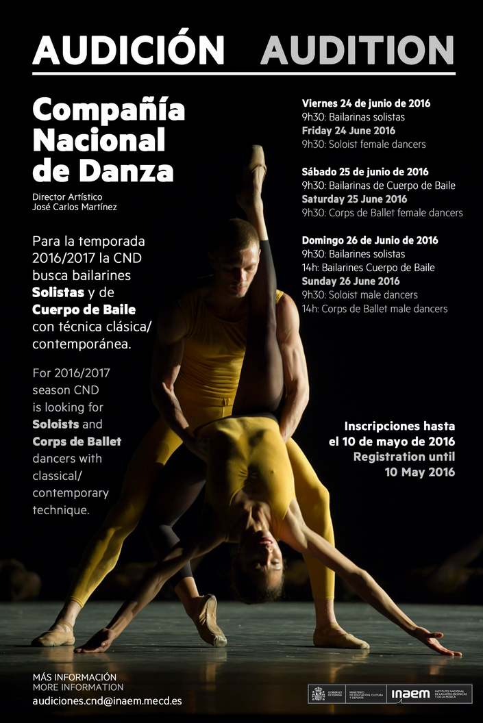 bailarines de ballet  Compañía Nacional de Danza   AUDICIÓN / AUDITION
