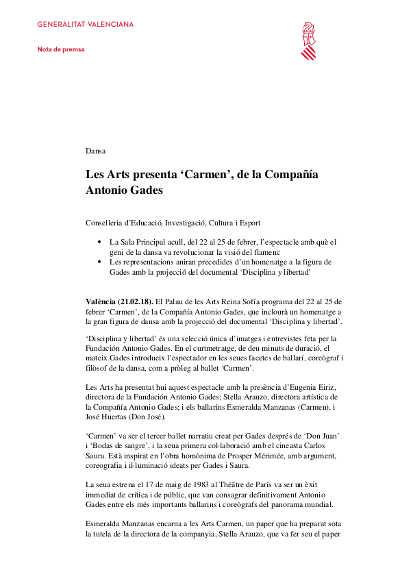 cartelera  Les Arts presenta 'Carmen' de la Compañía Antonio Gades