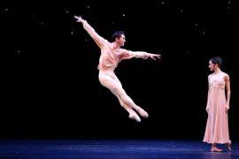 Houston Ballet Principal Charles-Louis Yoshiyama and First Soloist Mónica Gómez in Stanton Welch's Nosotros.  Photo by Amitava Sarkar (2019).  Courtesy of Houston Ballet.