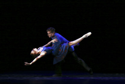 Houston Ballet Soloist Alyssa Springer with former Demi Soloist Brian Waldrep at Jacobs Pillow in Trey McIntyre's In Dreams. Photo by Noor Eemaan (2018). Courtesy of Houston Ballet.
