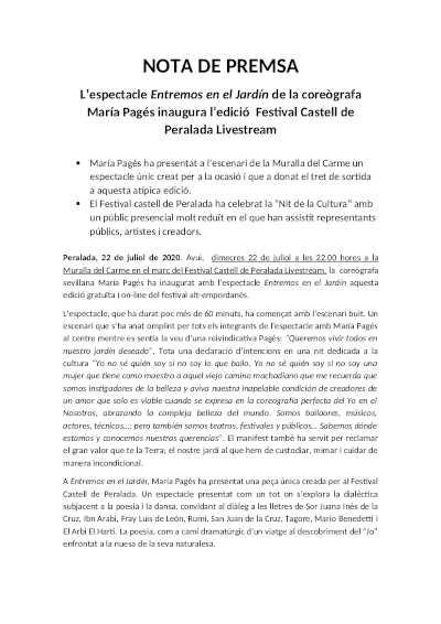festivales  El espectáculo Entremos en el Jardín de la coreógrafa María Pagés ha inaugurado la edición Festival Castell de Peralada Livestream