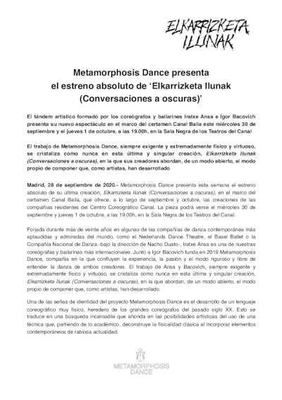 cartelera  Metamorphosis Dance presenta   el estreno absoluto de 'Elkarrizketa Ilunak