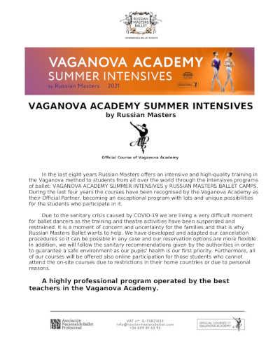 Nueva edición del Vaganova Academy Summer Intensives by Russian Masters