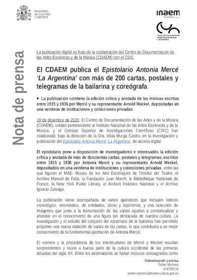 bailarines de ballet  El CDAEM publica el Epistolario Antonia Mercé 'La Argentina' con más de 200 cartas, postales y telegramas de la bailarina y coreógrafa