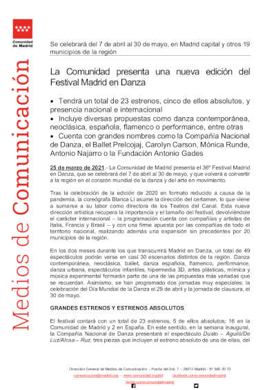 La Comunidad presenta una nueva edición de Madrid en Danza
